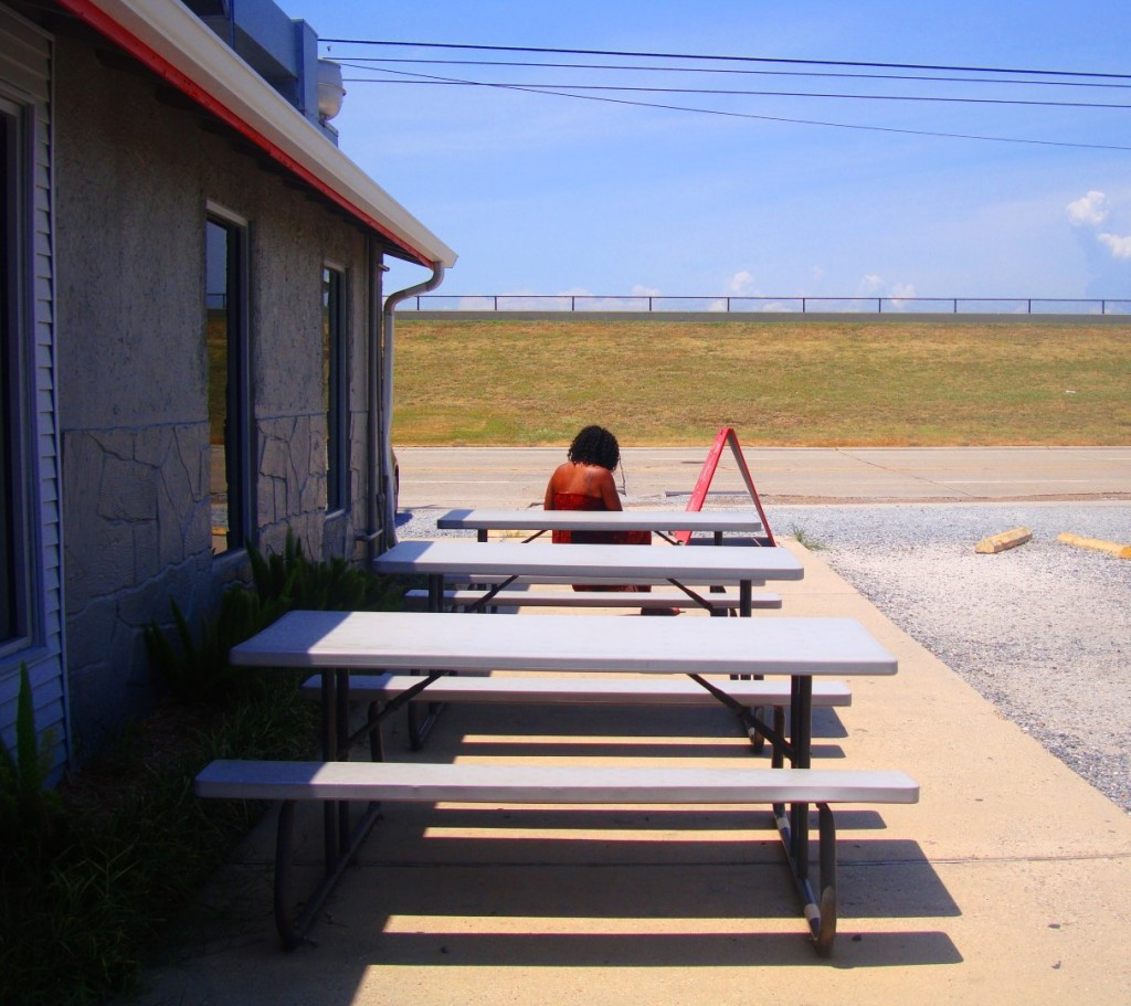 A Lone Outside Diner On A 95 Degree Day