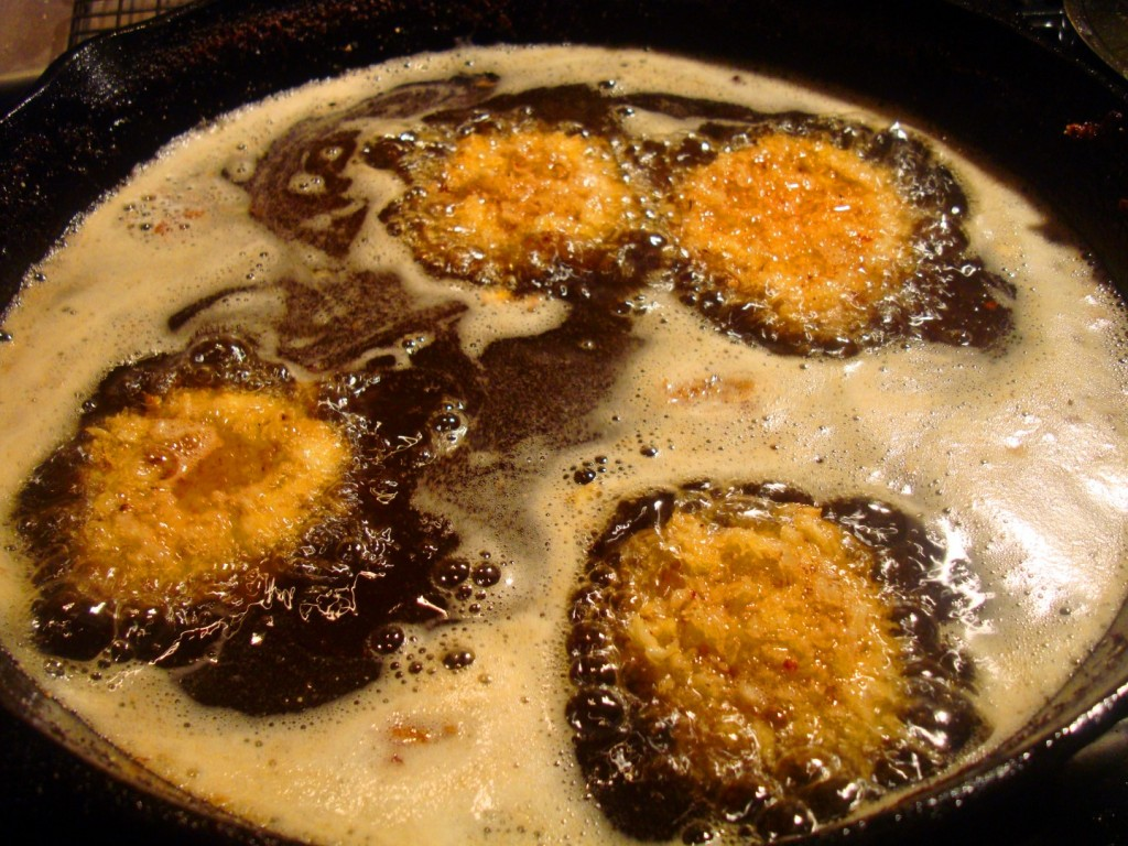 Lamb Testicles Frying In Hog Lard