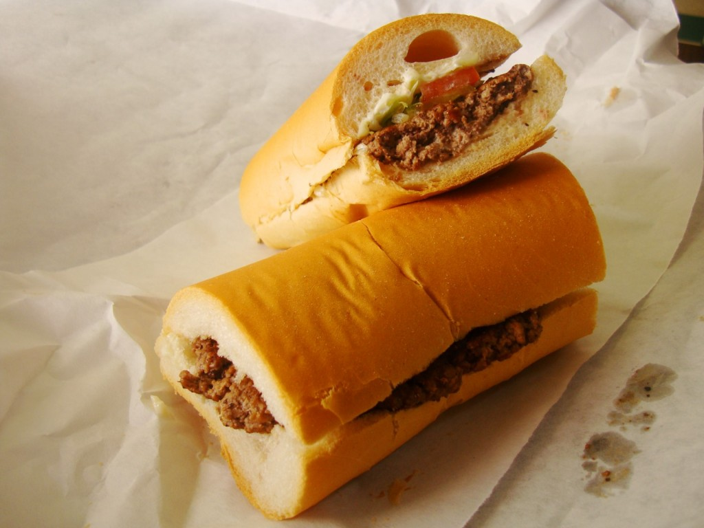 Hamburger Po Boy From Tag's Meat Market In Chalmette Louisiana
