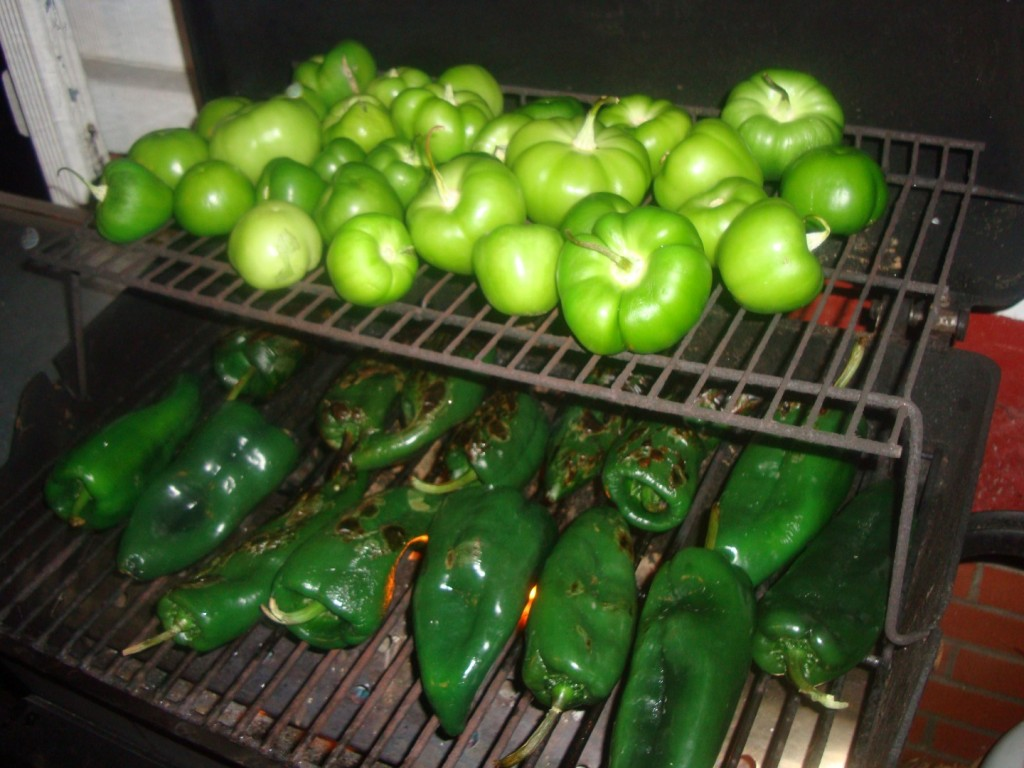 Char-Grilled Tomatillos And Poblano Chiles