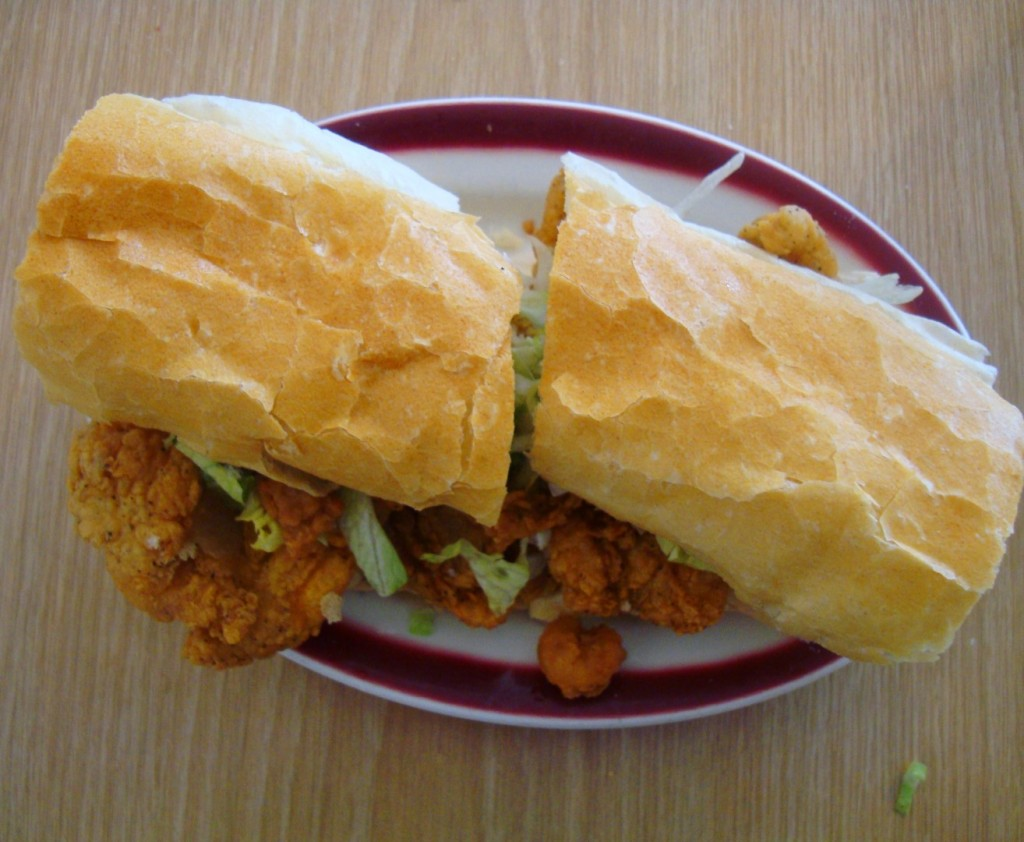 A Po Boy From Boutte's Bayou Piled High With Fried Catfish and Crawfish
