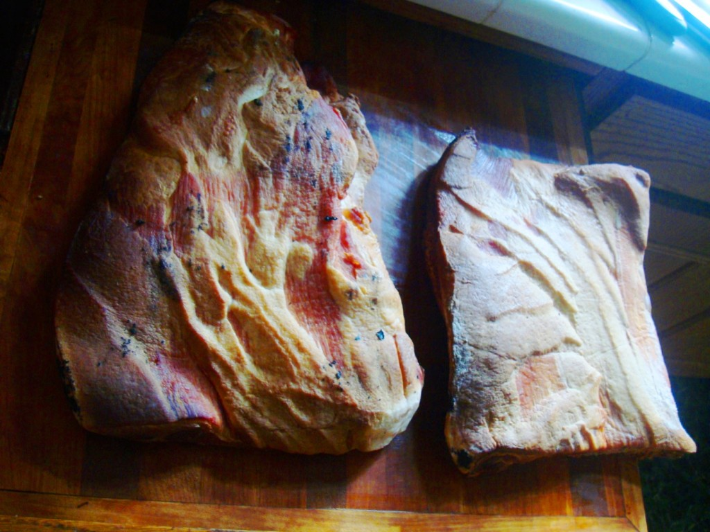 Dry Cured Pork Belly On Right. Wet Cured Pork Belly On Left