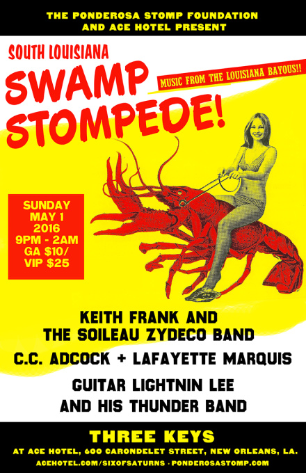 South Louisiana Swamp Stompede, Keith Frank and the Soileau Zydeco Band, CC Adcock + The Lafayette Marquis, Guitar Lightnin Lee and His Thunder Band
