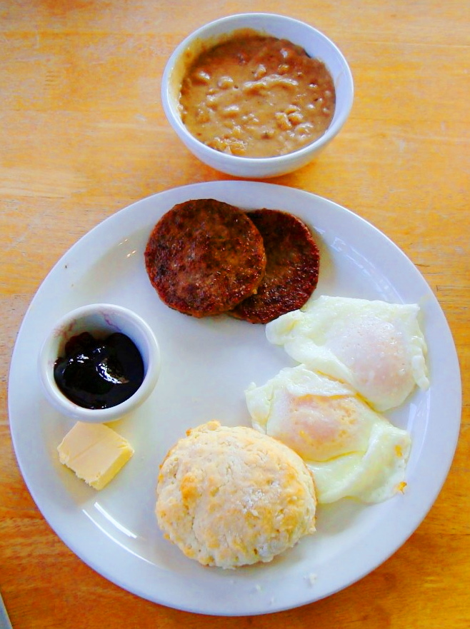 Country Boy Sausage With Fried Eggs Biscuits And Gravy In Pineville Kentucky
